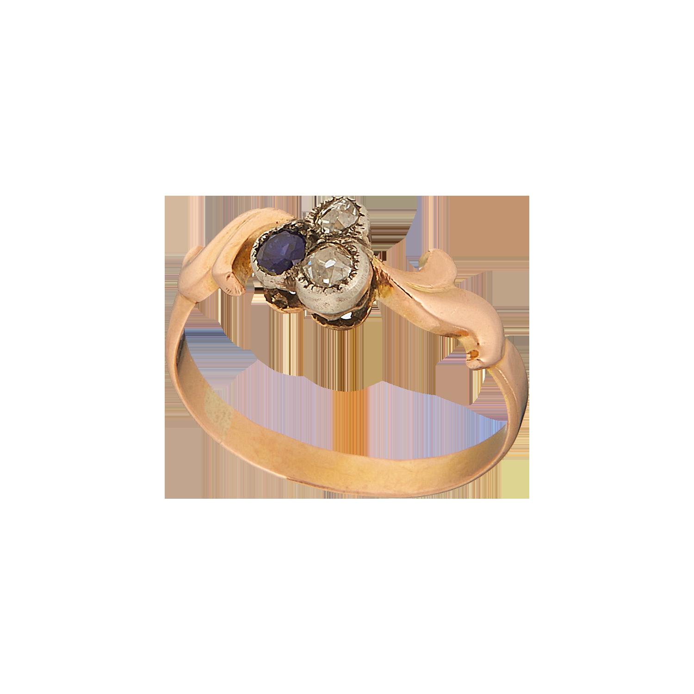 Антикварное кольцо с бриллиантом и сапфиром.