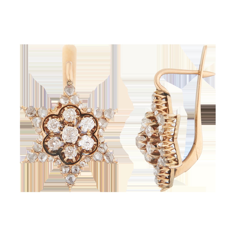 Антикварные серьги с бриллиантами.