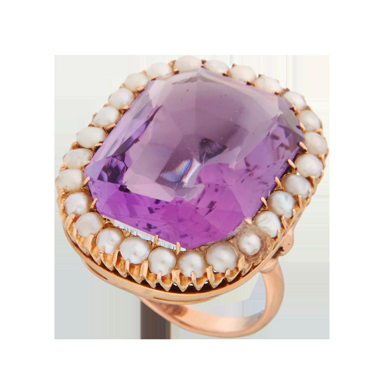Антикварное кольцо с аметистом.