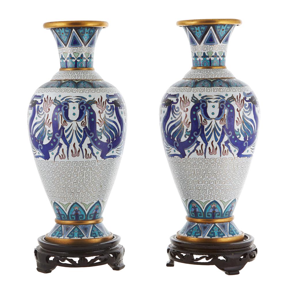 Парные вазы. Клуазоне. Китай.